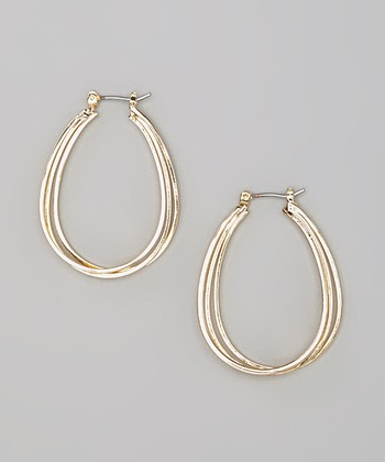 Gold Triple Strand Hoop Earrings