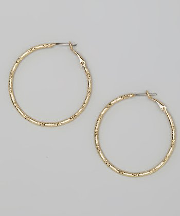 Gold Diamond-Cut Hoop Earrings
