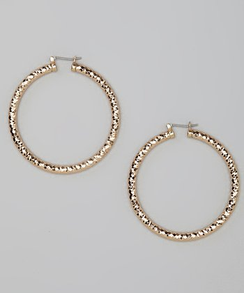 Gold Chiseled Hoop Earrings