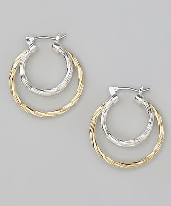 Gold & Silver Triple Strand Hoop Earrings
