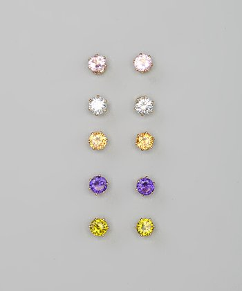 Gold Sparkle Stud Earring Set