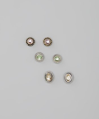 Cat's Eye & Gold Stud Earring Set