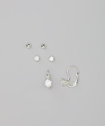 Silver Sparkle Drop Earring Set