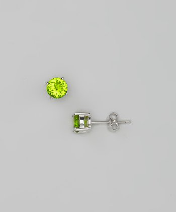Peridot Round Simulated Diamond Studs