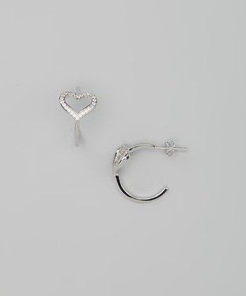 Sterling Silver Heart Cutout Simulated Diamond Huggie Earrings
