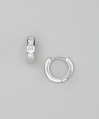 Sterling Silver Small Simulated Diamond Huggie Earrings