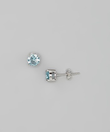 Aquamarine Round Simulated Diamond Studs