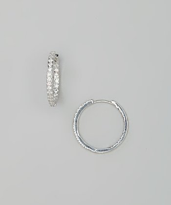 Sterling Silver Simulated Diamond Small Hoop Earrings