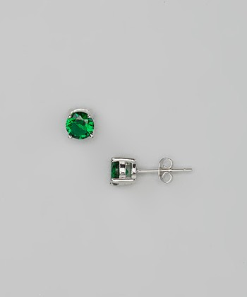Emerald Round Simulated Diamond Studs