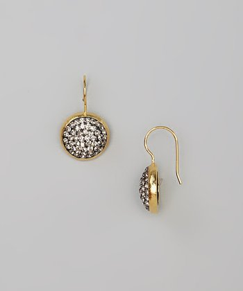 Gold & Black Diamond Crystal Round Drop Earrings