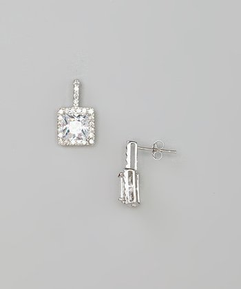 Silver Square Simulated Diamond Drop Earrings