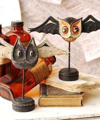 Bat & Cat Owl Figurine Set