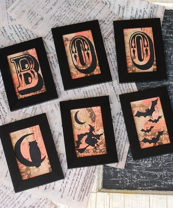 'Boo' & Silhouette Framed Wall Art Set