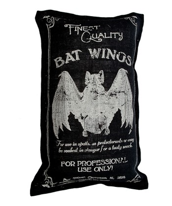 Black Bat Wings Burlap Throw Pillow