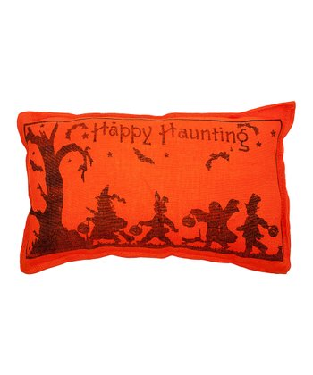 Orange 'Happy Haunting' Burlap Throw Pillow