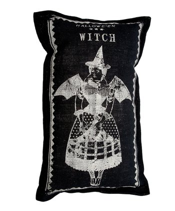 Black Witch Burlap Throw Pillow