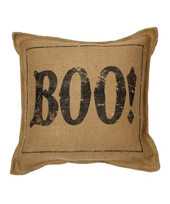 Natural 'Boo' Burlap Throw Pillow