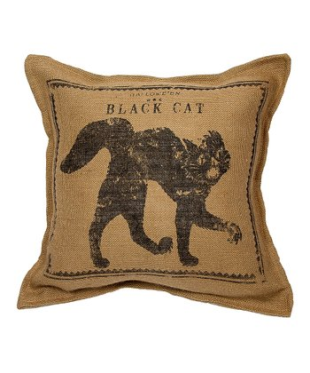 Natural Cat Burlap Throw Pillow