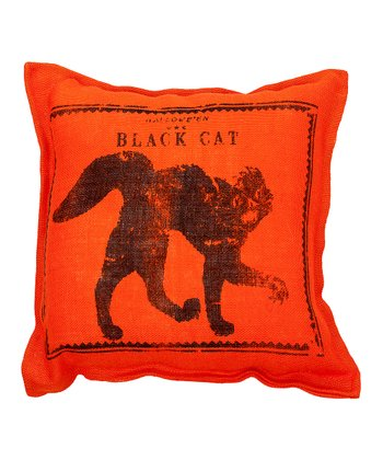 Orange Cat Burlap Throw Pillow