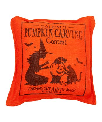 Orange 'Carving' Burlap Throw Pillow