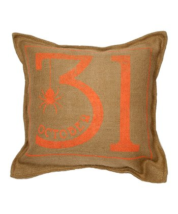 Natural 'October 31' Burlap Throw Pillow