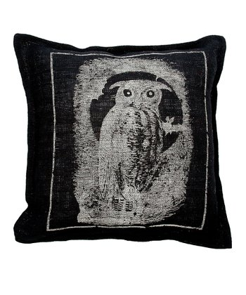 Black Owl Burlap Throw Pillow