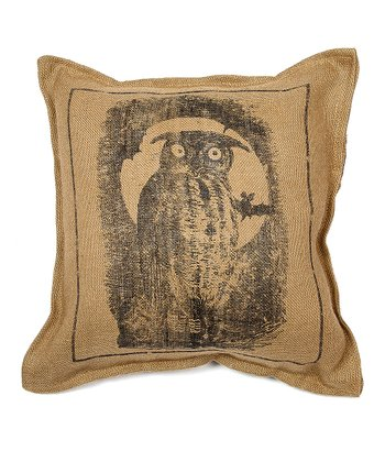 Nautral Owl Burlap Throw Pillow