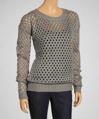 Heather Gray Loose-Knit Sweater