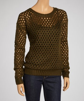 Olive Loose-Knit Sweater