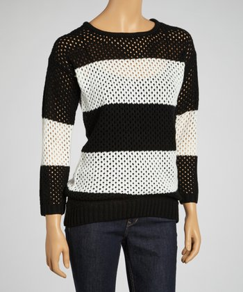 Black & White Stripe Loose-Knit Sweater