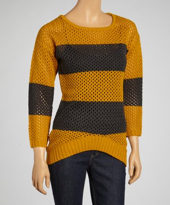 Mustard & Charcoal Stripe Loose-Knit Sweater