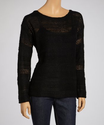 Black Mixed-Knit Sweater