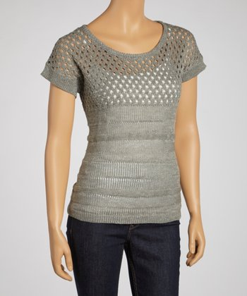 Heather Gray Short-Sleeve Sweater