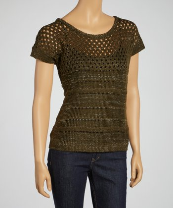 Olive Short-Sleeve Sweater