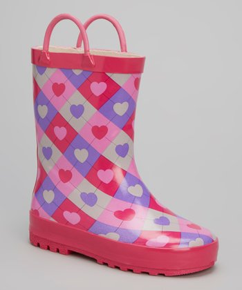 Pink & Purple Argyle Heart Rain Boot
