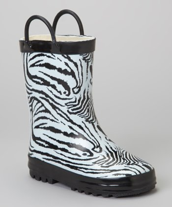 Black & White Zebra Rain Boot