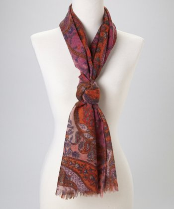 Red Paisley Wool Scarf