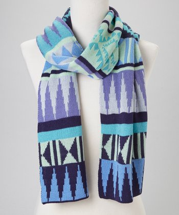 Aqua Tribal Scarf