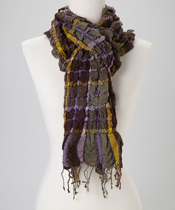 Green Crinkle Plaid Wool-Blend Scarf
