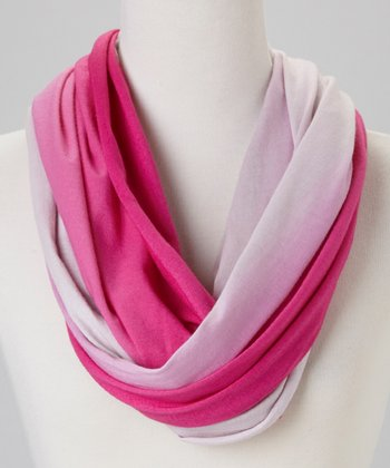 Light Gray & Fuchsia Ombré Infinity Scarf