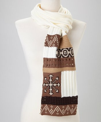 Brown Patchwork Fair Isle Scarf