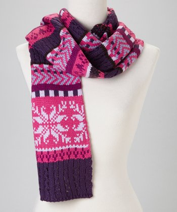 Pink Fair Isle Pointelle Scarf