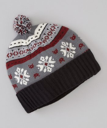 Black & Red Fair Isle Pom-Pom Beanie