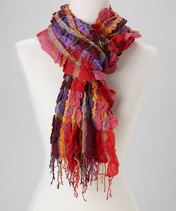 Red Crinkle Plaid Wool-Blend Scarf