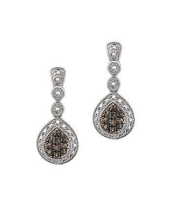 Brown Diamond & Sterling Silver Teardrop Earrings