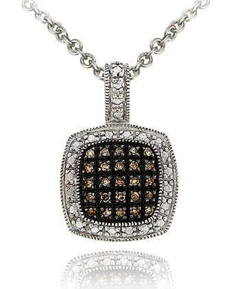 Brown Diamond & Sterling Silver Square Pendant Necklace