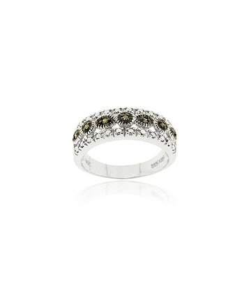 Brown Diamond & Sterling Silver Stud Frame Ring