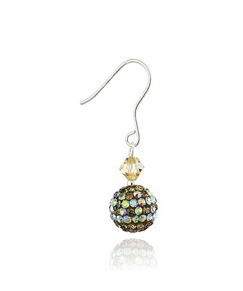 Gold Crystal & Sterling Silver Fireball Drop Earrings