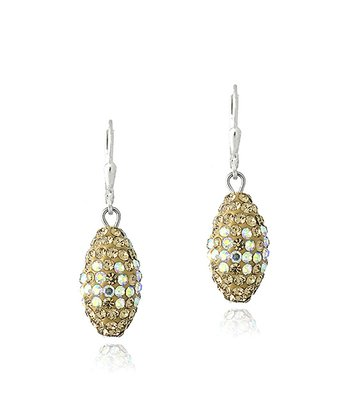 Gold Crystal & Sterling Silver Oval Fireball Drop Earrings