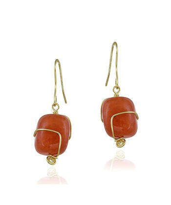 Carnelian & Gold Drop Earrings